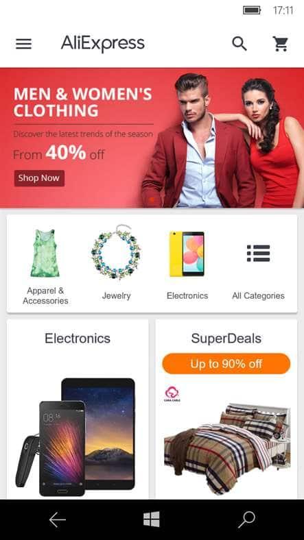Приложение aliexpress shopping app для windows phone.