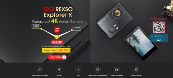 Водонепроницаемая камера 4К Rexso Explorer K