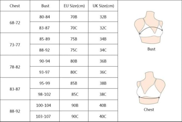 размер чашечки бюстгальтера таблица Алиэкспресс